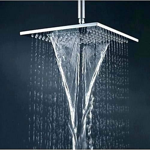 Aquieen Stainless Steel Waterfall and Rain Shower Head, Silver, Mirror Finish