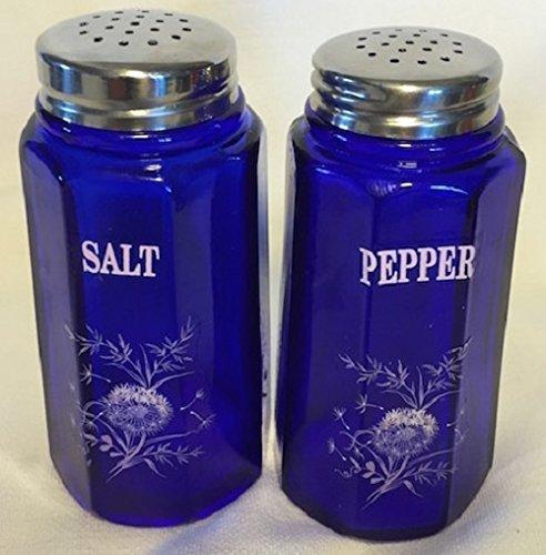 Cobalt Glass Salt (Salt & Pepper Shaker Set - Paneled Pattern - Cobalt Blue Glass - Mosser Glass - American Made (White Flowers))