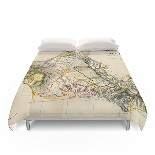 Society6 Vintage Map Of Oahu Hawaii (1906) Duvet Covers King: 104'' x 88'' by Society6