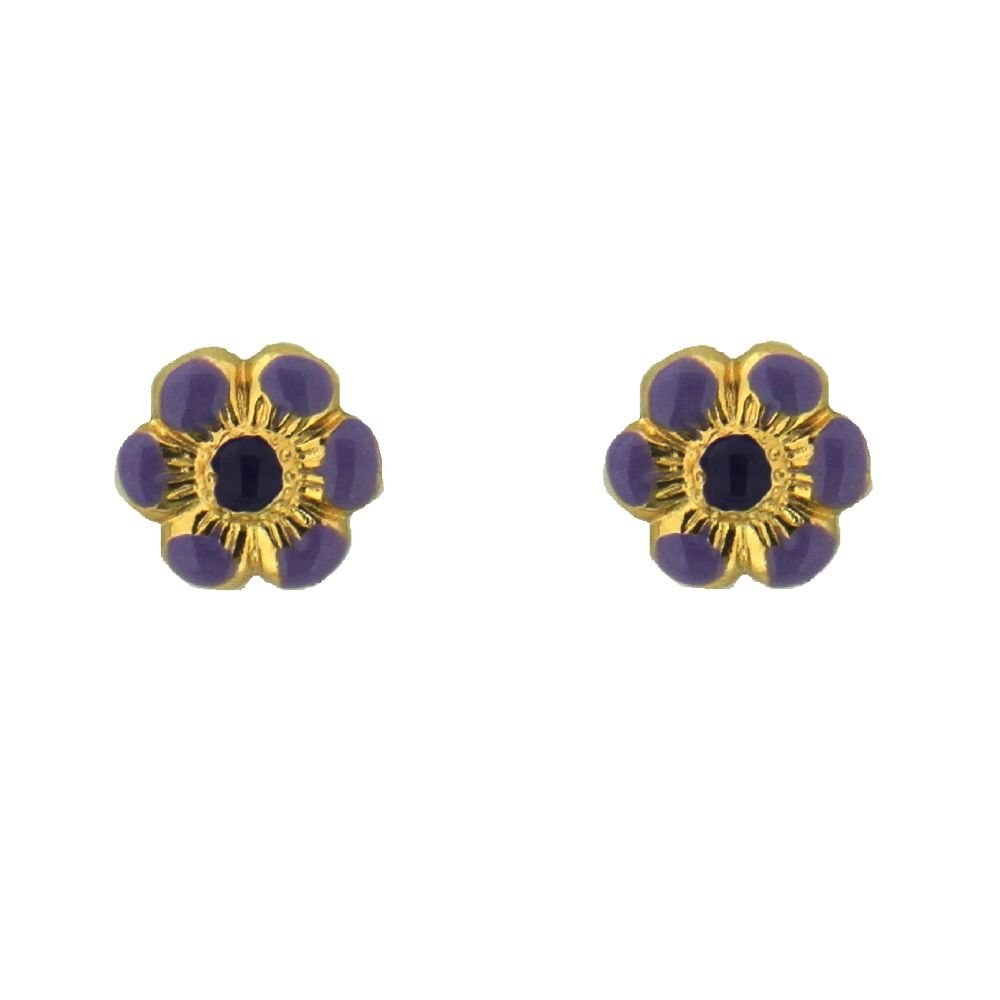 18K Yellow Gold Lavender Enamel Flower Earrings