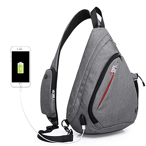 KAKA Sling Bag for Travel Hiking Camping Small Backpack,Anti Theft RFID Purse Crossbody Backpack Adjustable Shoulder Strap - Compact Backpack for Men ()
