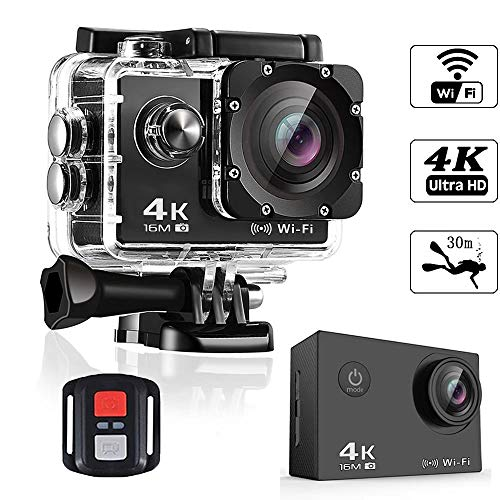 Action Camera 4K Smyidel 16MP Ultra HD WiFi Sport Camera 170° Wide View Angle Underwater Waterproof 30M 2.0 Inch LCD Screen with Remote Control and Mounting Accessories Kits Black