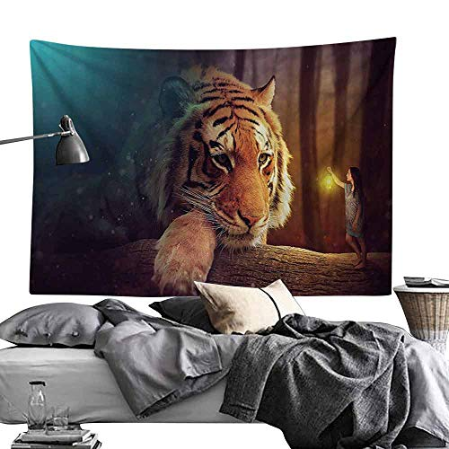 Commemorative Tapestry Jungle Young Woman with Lamp Facing Giant Tiger on Big Tree Branch Fantastic Magical Bedroom Home Decor W93 x L70 Orange Blue Brown