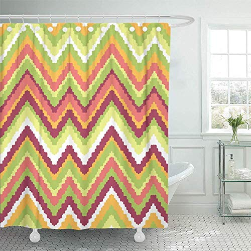 Shower Curtain Machine Washable Water Soap And Mildew Resistant 72 X Inches Colorful Missoni Zig Zag Orange Line Zigzag Abstract American Aztec Digital