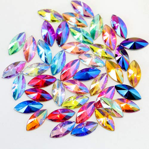 100Pcs 5X10mm 7X15mm Colorful Horse Eye Acryl Non Hot Fix Rhinestones Crystal Leaf Nail Art Rhinestones For Nail Art DIY B3530 Mixed Colors 7x15mm 100pcs