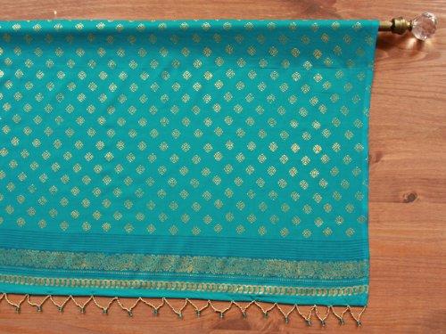 Turquoise Blue Sari (Saffron Marigold Jeweled Peacock ~ Turquoise Blue and Gold Sari Beaded Valance 46x17)