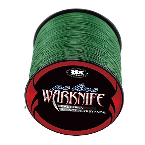 - Warknife 8 Stands Super Strong Braided Fishing Line Tensile Strength 500Meters/546Yards 80LB Moss Green