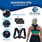 Premium Back Posture Corrector for Women by Restore Health Solutions. Adjustable Support Brace and Prevents Back, Shoulder, and Neck Pain. Includes Comfortable Under Arm Pads & Carry Bag.