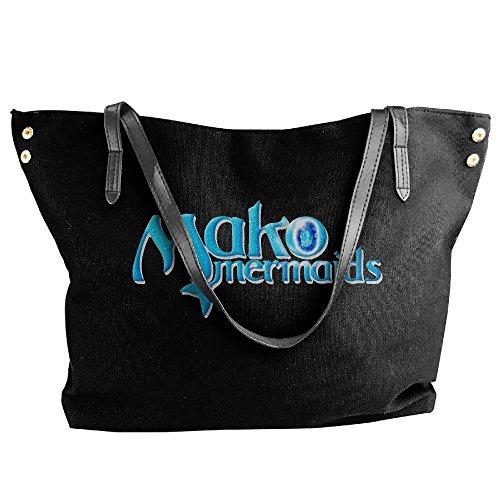 Mako Mermaids Tote Bag For Women Black