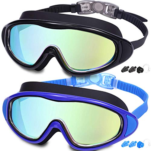 Swimming Goggles for Adult, 2-Pack No Leaking Anti Fog Wide Vision Swim Goggles