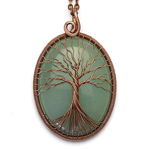 Green Jade Tree of Life Necklace Pendant Handmade Copper Wire Wrapped Jewelry Natural Gemstone