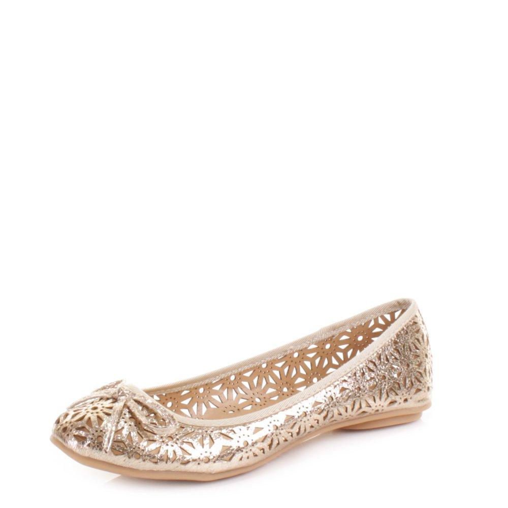 Womens Laser Cut Flat Ballerina Pumps Shoes