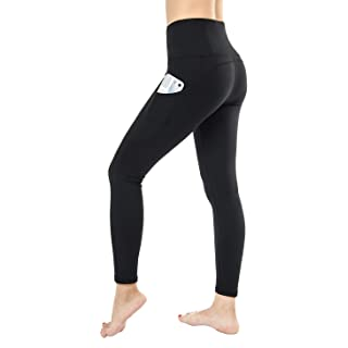 Dragon Fit Compression Yoga Pants with Inner Pockets in High Waist Athletic Pants Tummy Control Power Stretch Workout Yoga Leggings (X-Large, Black-2 Side Pocket)
