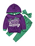 Gogoboi 3pcs Mermaid Outfit Set Long Sleeve Hoodie Top+Pants+Headband Suit for Baby Girl 1-6T (Purple, 2-3T)