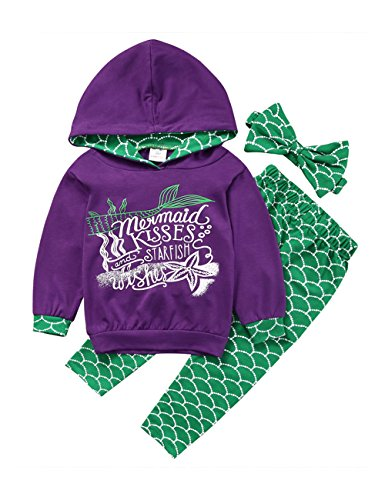 Gogoboi 3pcs Mermaid Outfit Set Long Sleeve Hoodie Top+Pants+Headband Suit For Baby Girl 1-6T (Purple, 1-2T) ()