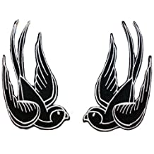 Black Tattoo Sparrow Swallow Emo Punk Embroidered iron on Motorcycle Biker Patch BIG by Cool-Patches