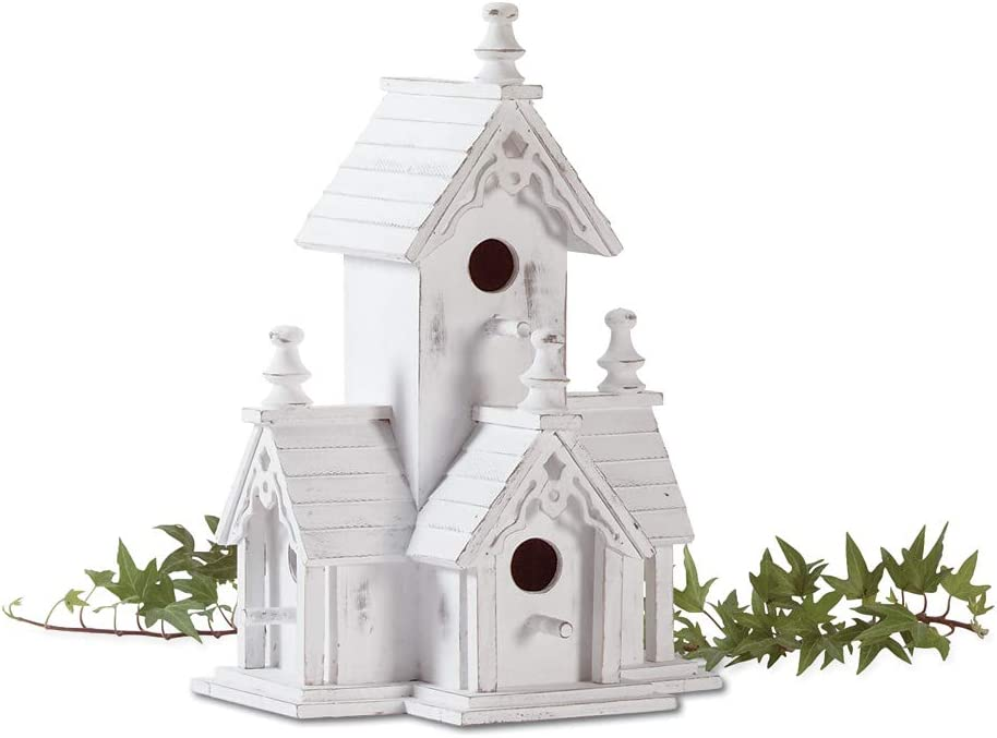 Highest_Shop Modern Luxury New Cozy Space Victorian Garden Bird House Castle Nesting Box Yard Outdoor Decor Porch Patio Tree Hanging Standing Long Lasting Durable