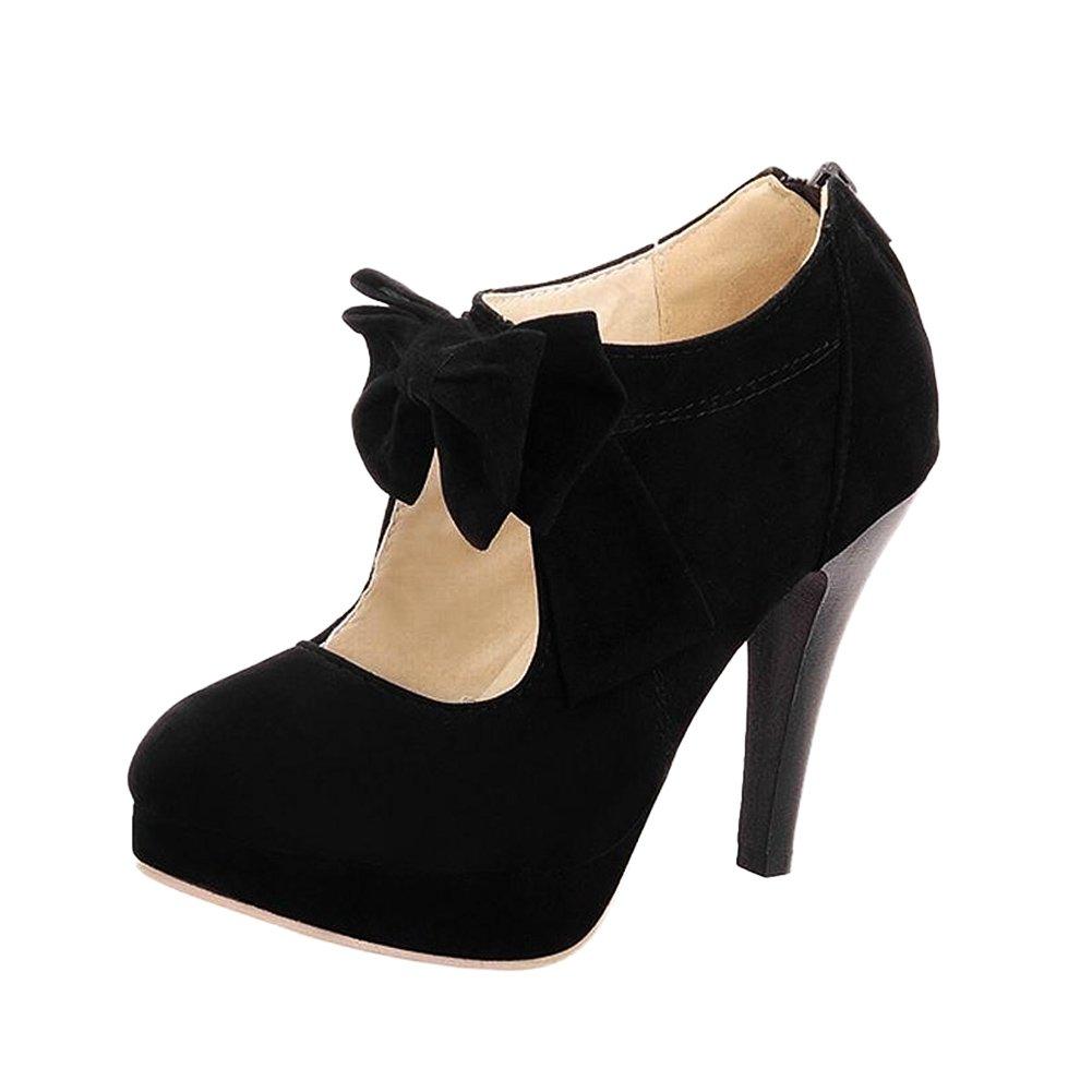 Qiangsoo Women Sexy High Heel Pumps Zip up Ankle Boots B073QP5WKK 8 M US|Black