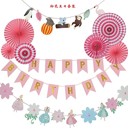 Tissue Paper Tassel Garland And Happy Birthday Paper Banner Decoration Baby Girl Birthday Party,Fiesta Pink Hanging Paper Fan Flower