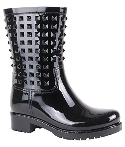 Stud Wellington Calf Boots (Black, US 10),[4056-BLK-8] by KRISP (Image #1)