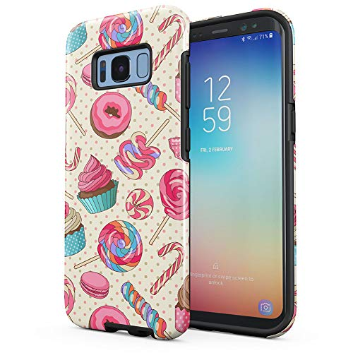 Sweet Candies Lollipops Cupcakes Pattern Samsung Galaxy S8 Plus Silicone Inner/Outer Hard PC Shell Hybrid Armor Protective Case Cover