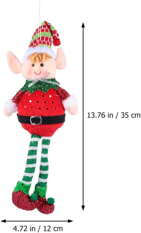 Healifty 2Pcs Christmas Elf Ornaments Plush Long Leg Sitting Elf Decorations Stuffed Christmas Tree Figurines Toys Shelf Fireplace Centerpiece Table Decoration