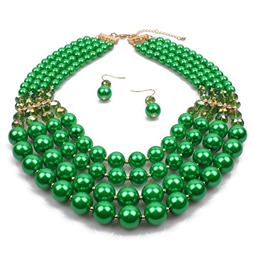 Simulated Faux Pearl Five Multi-Strand Statement Necklace and Earrings Set For Women (Green)