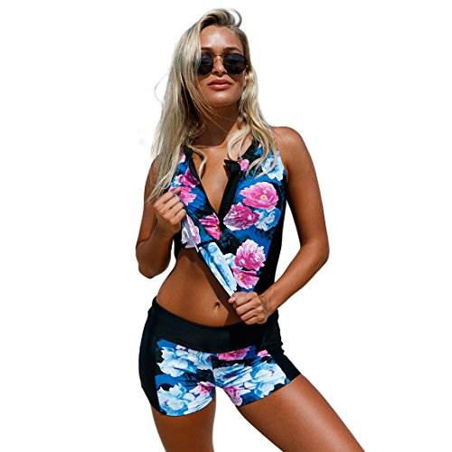 Richardy Women Elegant Floral Zip Front Sporty 2pcs Tankini Zip Up Swimsuit Plus Size Swimwear Top Bottom Bathing Suits (Tankini Front)