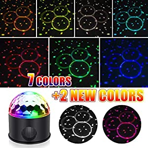 51j4DMPQSTL. SS300  - KB-SEVEN-Discokugel-9-Farbe-Mini-Bluetooth-Musik-LED-Party-Licht-Bunte-Lichteffekte-Licht-Bhnenbeleuchtung-Kristall-Magic-Ball-mit-Fernbedienung-fr-KinderBar-Party-Energieklasse-A