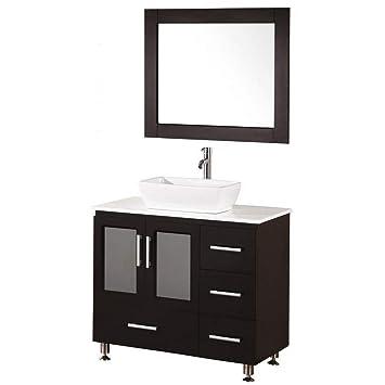 Design Element Stanton Single Vessel Sink Vanity Set With Espresso