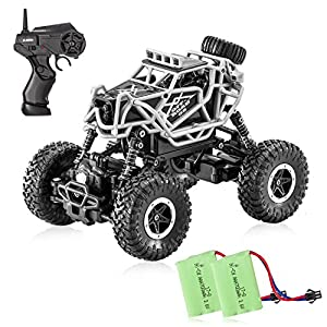 Tobeape RC Car, 4WD Offroad Remote Control Car, 1/43 Scale High Speed RC Truck, Best Birthday Christmas Gift for Kids and Adults (2 Rechargeable Batteries Included) - Black