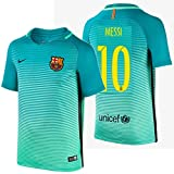 2016 Messi #10 Barcelona Away Jersey & Shorts for Kids and Youths Color Green ((11-13 Years Old))