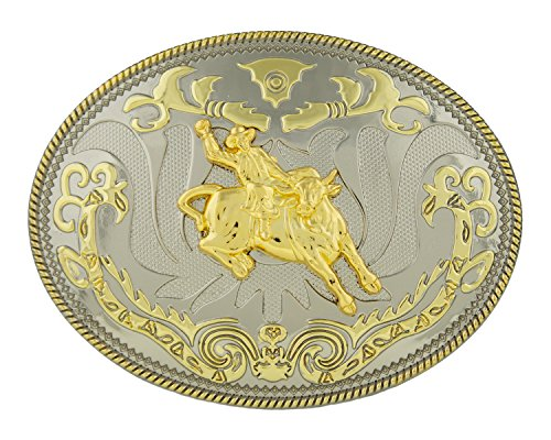 Bull Rider Buckle (RIDE AWAY Rodeo Bull Rider Western Style Gold Color Large Oval Belt)