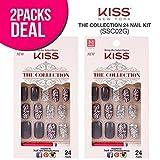 (2 PACK) Kiss The Collection 24 Nail Kit (SSC02G) Free Glue, False Nails, Fashion Fake Nails