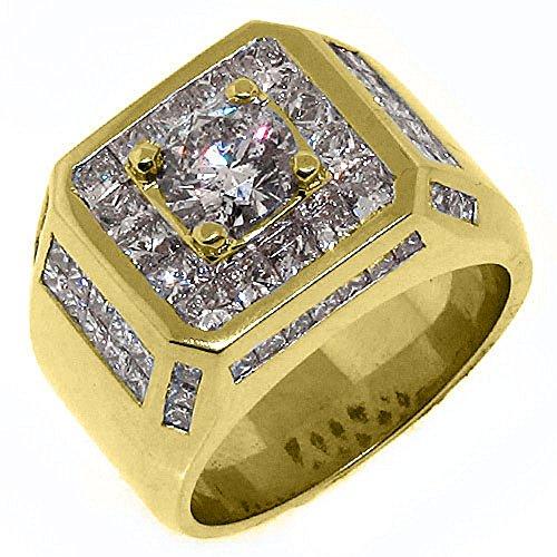 14k Yellow Gold Mens Invisible Set Princess & Round Diamond Ring 4.63 Carats
