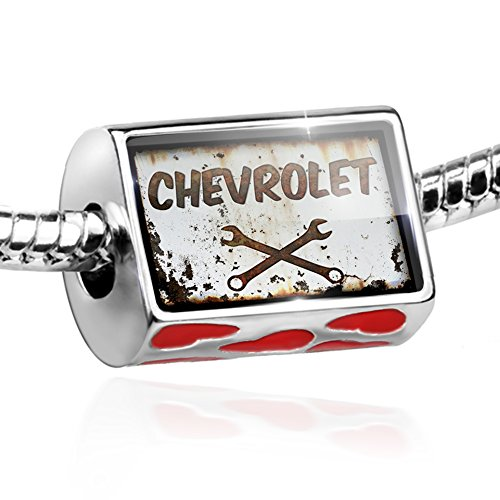 Bead Rusty old look car Chevrolet Charm with hearts by (Chevy Charm)