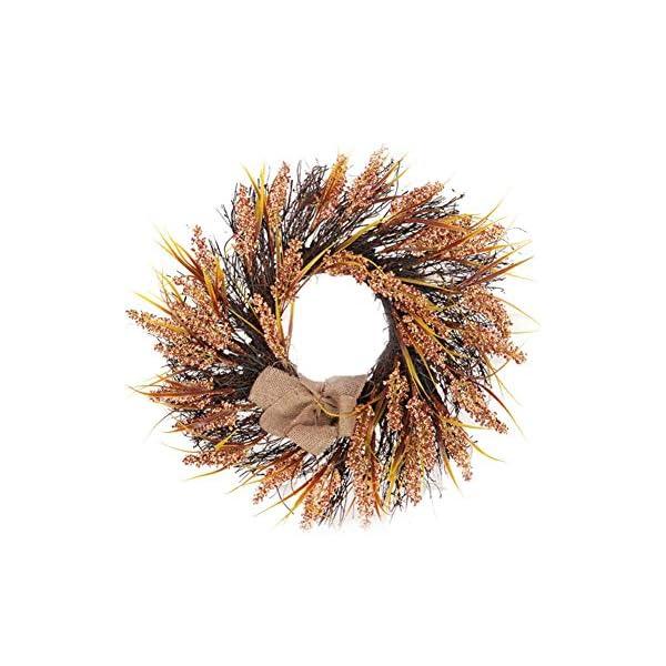 Binwe Rustic Wheat Wood Curl Flower Harvest Wreath – Hanging Fall Decoration Thanksgiving Decorative Wreath, Wheat Ears Grain Harvest Rattan Circle Christmas Decorations Material
