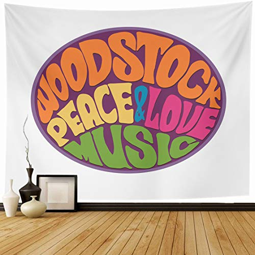 AlliuCoo Tapestry Wall Hanging 80 x 60 Inches Hippie Love Music Retro Woodstock Fair Rock Festivals Became Symbol End Era Home Wall Decor Tapestries for Bedroom Living Room -