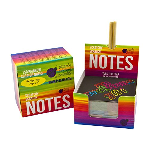 Rainbow Scratch Off Mini Notes + 2 Stylus Pens: 150 Sheets of Black Note Paper with Rainbow drop background for Kids Art and Craft Projects, Doodling & Lists - Unique Gift Idea for Kids or Anyone!