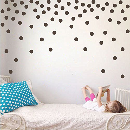 Polka Dot Circles Vinyl Wall Decor Stickers - Easy DIY Peel & Stick Removable Decorative Room Decals [Set of 160] (Brown, 1.1 inch (Brown Polka Dot Peel)