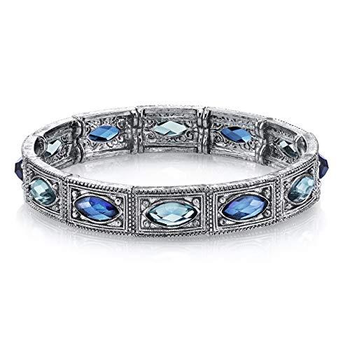 "1928 Jewelry ""Essentials"" Silver-Tone Sapphire-Color and Aquamarine-Color Blue Stretch Bracelet, 7.5"""