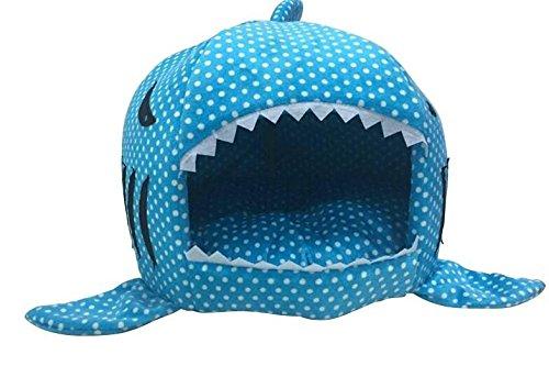 Dot bluee M Dot bluee M Warm Soft Dog House Pet Sleeping Bag Shark Dog Kennel Cat Bed Cat House