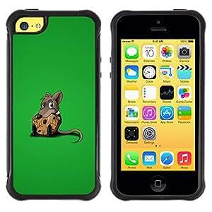 All-Round híbrido Heavy Duty de goma duro caso cubierta protectora Accesorio Generación-II BY RAYDREAMMM - Apple iPhone 5C - Rat Sweet Chees Lonely Rodent Cartoon Comic