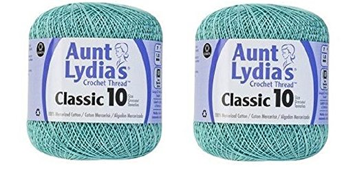 Aunt Lydia's Crochet Thread - Size 10 - Aqua (2-Pack) by Aunt Lydia's