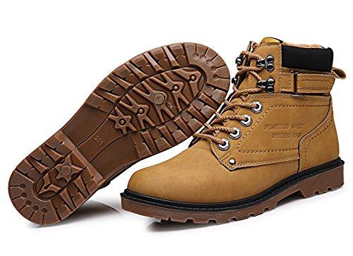 Santimon Mens Chukka Stivali Fodera In Pile Lace Up Impermeabile Antiscivolo Lavoro Allaria Aperta Escursioni Martin Boot Boot Scarpe Invernali Tan