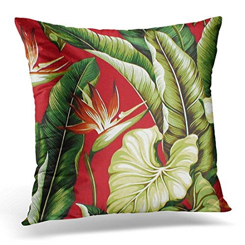 (TORASS Throw Pillow Cover Flower Patterns Barkcloth Tropical Floral Red Colorful Fabrics Decorative Pillow Case Home Decor Square 16x16 Inches Pillowcase)