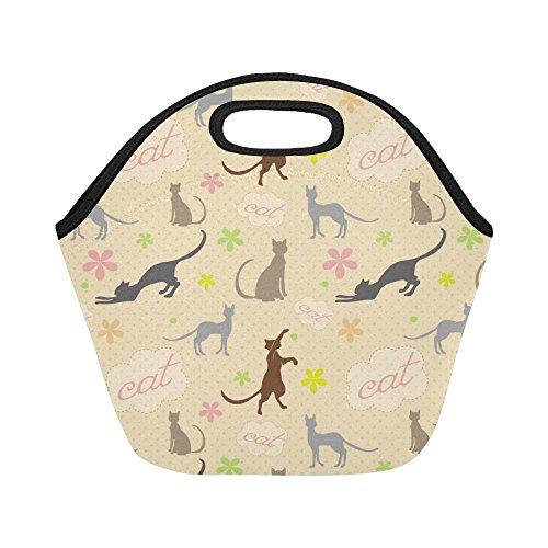 InterestPrint Cute Cats Flower Pattern Reusable Insulated Neoprene Lunch Tote Bag Cooler 11.93