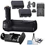 BG-E14 Replacement Battery Grip Bundle for Canon EOS 70D & 80D DSLR Cameras with 2 Replacement LP-E6 Batteries + AC/DC Multi Purpose Travel Charger + Camera Starter Kit from Eternal Photo