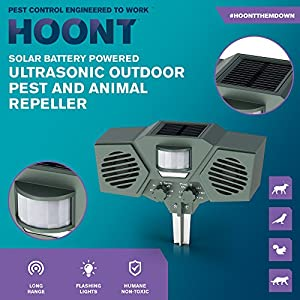 Hoont Solar Ultrasonic Outdoor Animal Repellent and Pest Repeller - Sound Dog deterrent, Mouse Repellent, Squirrel Trap Repeller, Bird Deterrent - Motion Activated Electronic Pest Control [UPGRADED]