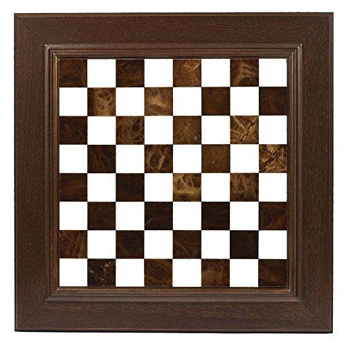 Inlaid Alabaster & Wormwood Storage Chess Set in Brown & (Brown Alabaster Chess Set)